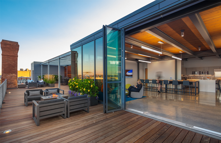 Milwaukee's Coolest Offices: EUA's 3rd Ward office mix of open space, wellness room and rooftop deck Banner Image