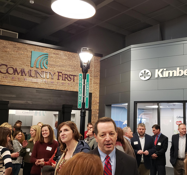 Junior Achievement and Fox Valley Technical College Open Community First Career Exploration and Financial Literacy Education Center slide