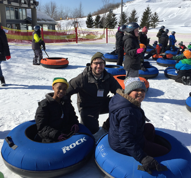 EUA Mentors Snow Tube with students from Lincoln Avenue School slide