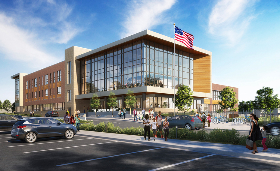Rendering of The Lincoln Academy during the day with people milling around outside.